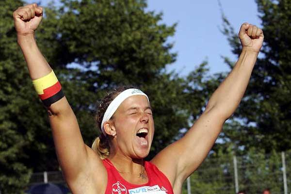 Steffi Nerius celebrates her Javelin win in Ulm - German Champs (Bongarts / Getty Images)