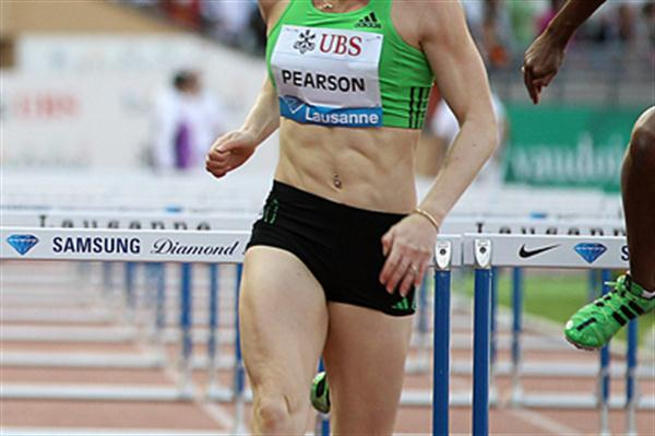Sally Pearson hurdles to a windy 12.47sec run in Lausanne (Giancarlo Colombo)