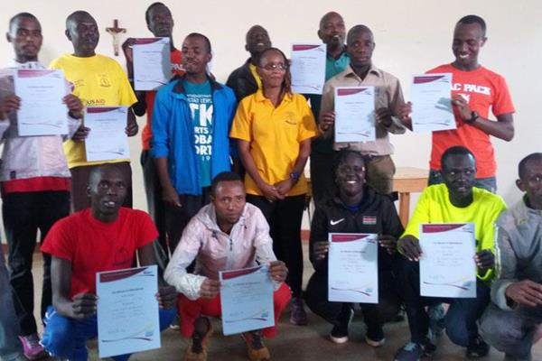Kids Athletics Activator workshop trainees with their certificates in Ngong (Organisers)