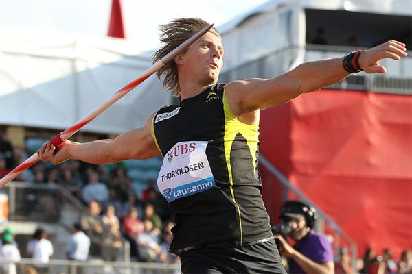 Andreas Thorkildsen takes the Javelin at the 2011 Lausanne Diamond League (Giancarlo Colombo)