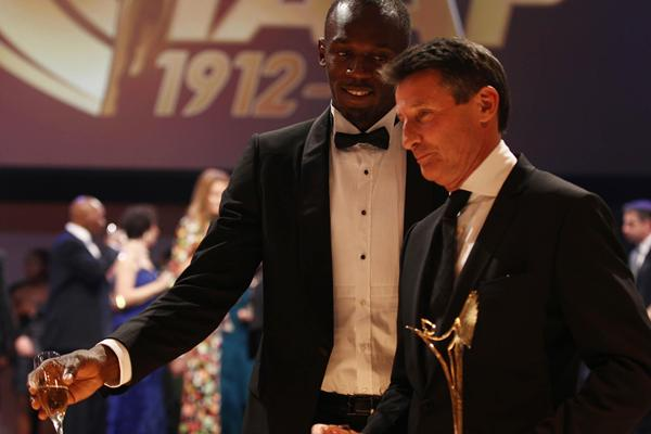 2012 World Athlete of the Year Usain Bolt and IAAF Hall of Fame member Sebastian Coe (Giancarlo Colombo)