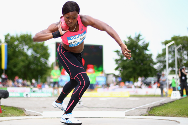 Antoinette Nana Djimou in the heptathlon shot put (Getty Images)