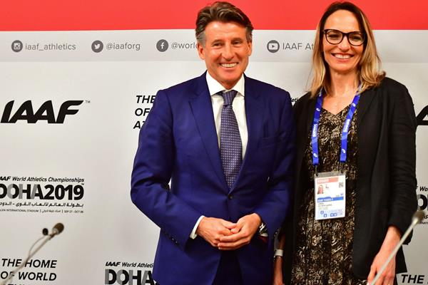 IAAF President Sebastian Coe and IAAF Vice President Ximena Restrepo (AFP / Getty Images)