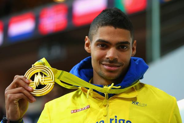 Michel Torneus after winning the 2015 European indoor long jump title (Getty Images)