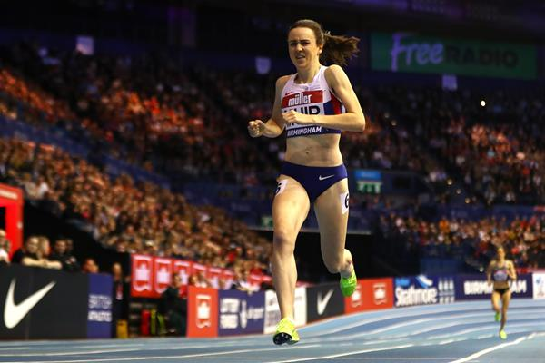 Laura Muir winning the 1000m at the Muller Indoor Grand Prix in Birmingham (Getty Images)