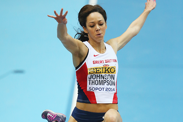 Katarina Johnson-Thompson in action at the IAAF World Indoor Championships (Getty Images)