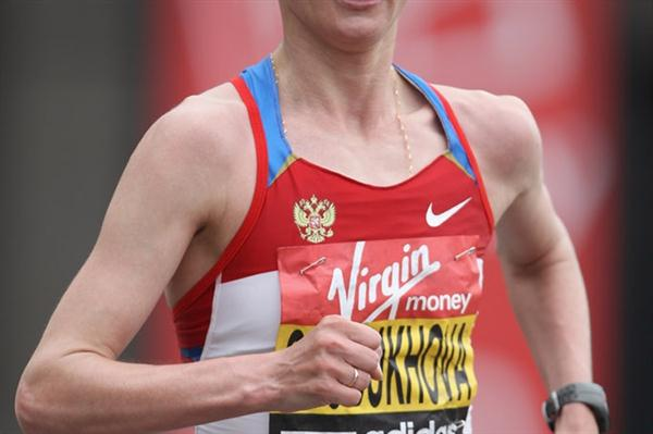 Liliya Shobukhova en route to her London Marathon victory (Getty Images)