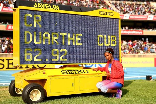 Marisleisys Duarthe after breaking the championship record in the javelin at the IAAF World U18 Championships Nairobi 2017 (Getty Images)