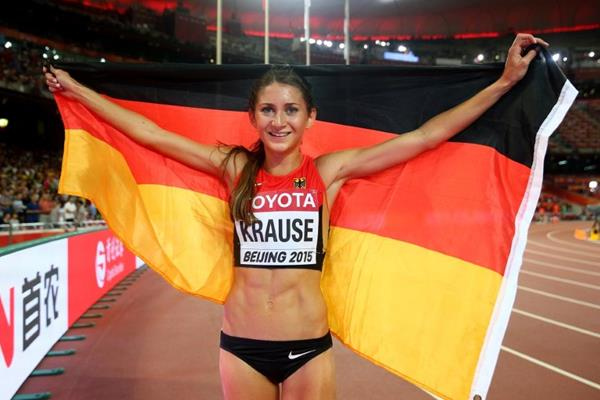 Gesa Felicitas Krause after taking the 3000m steeplechase bronze at the IAAF World Championships, Beijing 2015 (Getty Images)