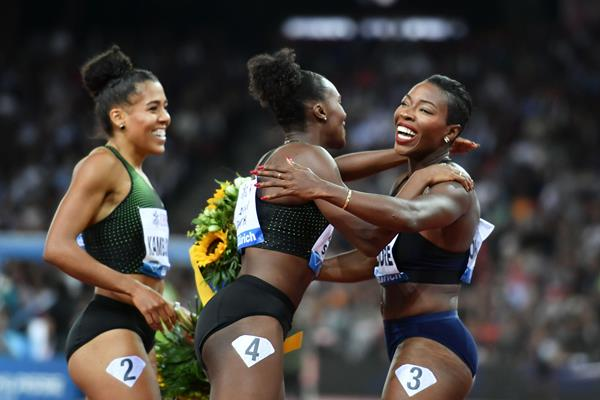 Murielle Ahoure celebrates her 100m win at the Diamond League meeting in Zurich (AFP / Getty Images)