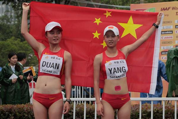 Duan Dandan and Yang Jiayu, the top two finishers in the junior 10km at the 2014 IAAF World Race Walking Cup in Taicang (Getty Images)