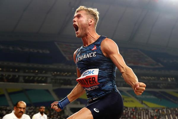 Kevin Mayer after throwing a lifetime decathlon best in the shot put at the IAAF World Championships Doha 2019 (Getty Images)