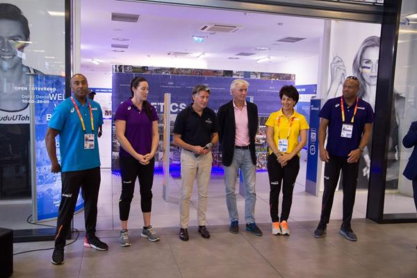IAAF Continental Cup team captains visit the IAAF Heritage exhibit in Ostrava (Bob Ramsak)