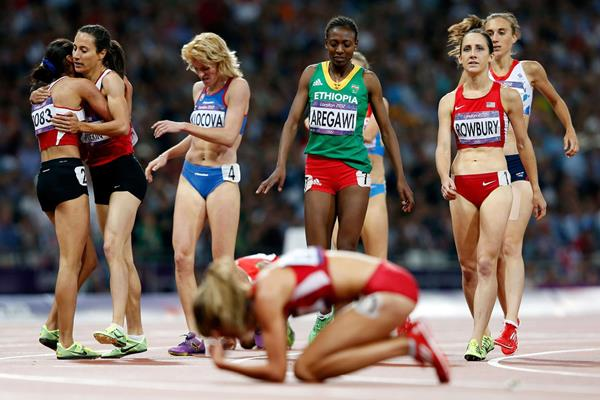 A frustrated Morgan Uceny in the Olympic 1500m final, moments after the medallists crossed the line (Getty Images)