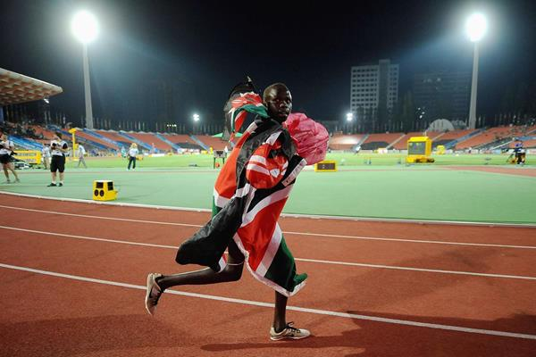 Lilian Rengeruk on her victory lap after winning the girls' 3000m at the World Youth Championships in Donetsk (Getty Images)