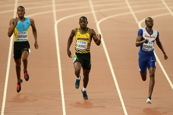 Steven Gardiner, Rusheen McDonald and Rabah Yousif in the 400m at the IAAF World Championships Beijing 2015 (Getty Images)