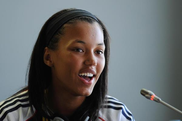 British heptathlete Morgan Lake at the 2013 World Youth Championships press conference (Getty Images)