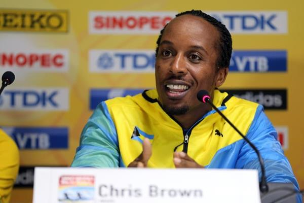 Chris Brown at the IAAF/BTC World Relays, Bahamas 2015 press conference (Getty Images)