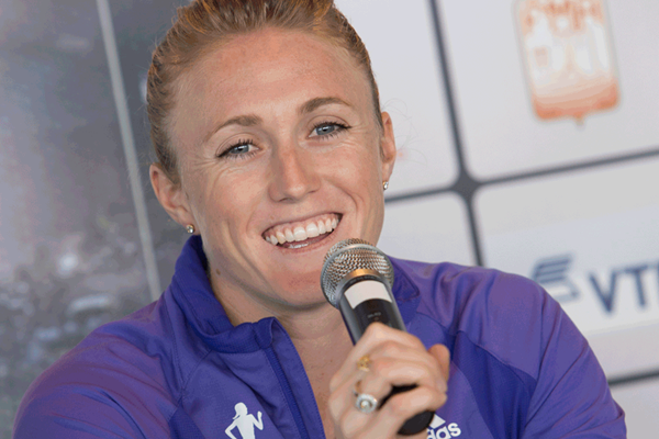 Sally Pearson at the Monaco Diamond League press conference (Philippe Fitte)