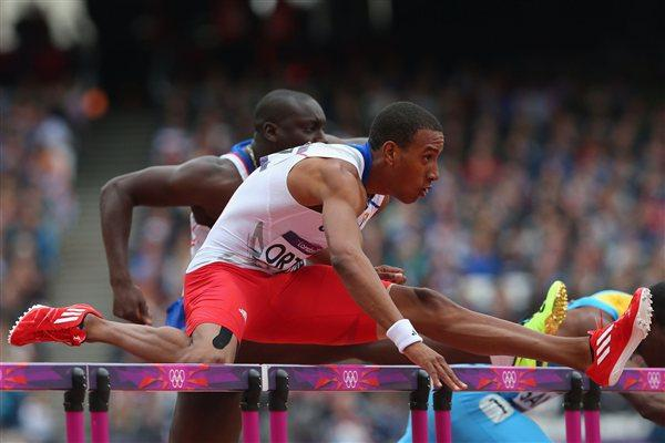 Orlando Ortega of Cuba in action over a hurdle in the Men's 110m Hurdles Round 1 Heats on Day 11 of the London 2012 Olympic Games on 7 August 2012 (Getty Images)