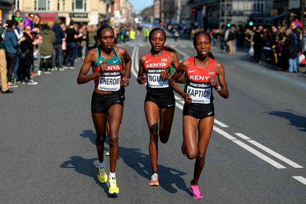 Gladys Cherono, Mary Wacera and Sally Chepyego at the 2014 IAAF World Half Marathon Championships in Copenhagen (Getty Images)