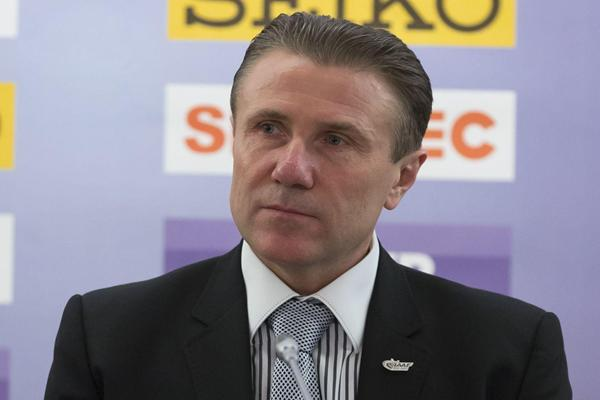Sergey Bubka - Moscow 2013 Press Conference, 8 April 2013 (Nikolay Kondakov - Moscow 2013 LOC)