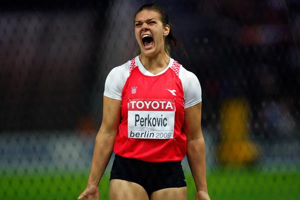 Sandra Perkovic reacts during the Discus final at the 2009 IAAF World Championships in Berlin (Getty Images)
