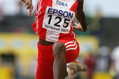 Dailenis Alcantara of Cuba on her way to gold in the Triple Jump final (Getty Images)