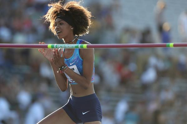 Vashti Cunningham after her 1.99m North American U20 high jump record at the US Championships (Getty Images)