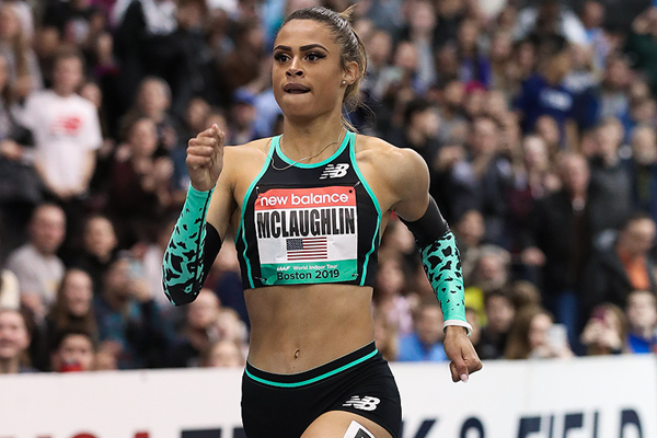 Sydney McLaughlin, winner of the 500m at the IAAF World Indoor Tour meeting in Boston (Victah Sailer)