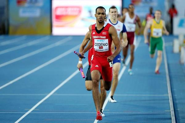 Trinidad & Tobago's Machel Cedeno in the 4x400m heats at the IAAF/BTC World Relays, Bahamas 2015 (Getty Images)