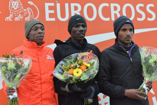 Alex Kibet, Albert Rop and Melaku Belachew at the 2013 ING Eurocross meeting in Diekirch, Luxembourg (Rosch Kohl)