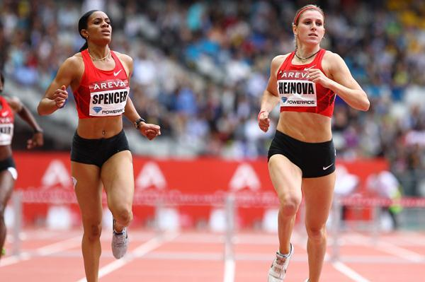 Zuzana Hejnova wins the 400m hurdles in a Czech record of 53.29 at the Meeting Areva in Paris (Errol Anderson)