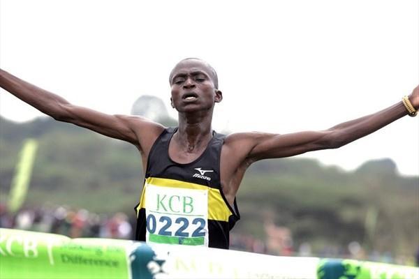 Paul Tanui on his way to winning the senior men's 12km race at the KCB/Athletics Kenya National Cross Country Championships at the Uhuru Gardens in Nairobi (Mohammed Amin/Daily Nation)
