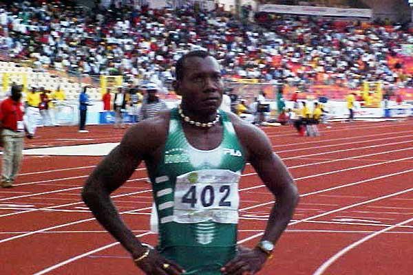Deji Aliu at the start of the African Games 100m in Abuja (Olukayode Thomas)