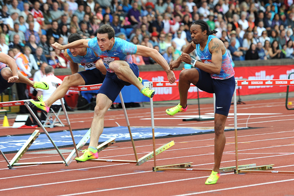 Aries Merritt on his way to winning the 110m hurdles at the IAAF Diamond League meeting in Birmingham (Mark Shearman)