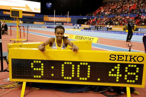 Genzebe Dibaba after breaking the two miles indoor world best at the 2014 Sainsbury's Indoor Grand Prix in Birmingham  (Getty Images)