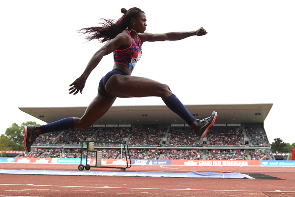 Triple jump winner Caterine Ibarguen at the IAAF Diamond League meeting in Birmingham (Jean-Pierre Durand)