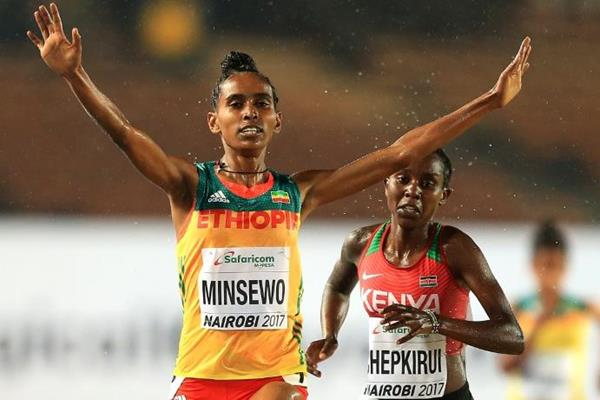 Abersh Minsewo wins the 3000m at the IAAF World U18 Championships Nairobi 2017 (Getty Images)