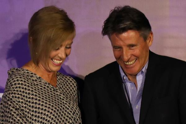 Liz McColgan and IAAF President Sebastian Coe share a laugh at the IAAF Heritage Exhibition opening in Doha (Karim Jaafar)