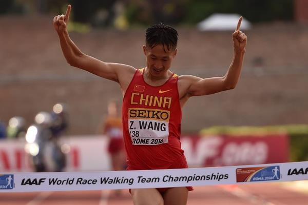 Wang Zhen wins the men's 20km at the IAAF World Race Walking Team Championships Rome 2016 (Getty Images)