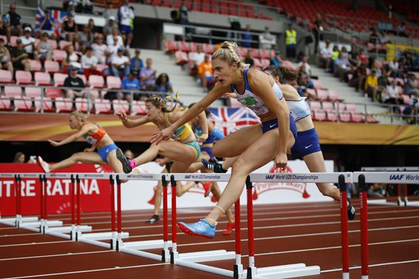 Niamh Emerson in the heptathlon 100m hurdles at the IAAF World U20 Championships Tampere 2018 (Getty Images)