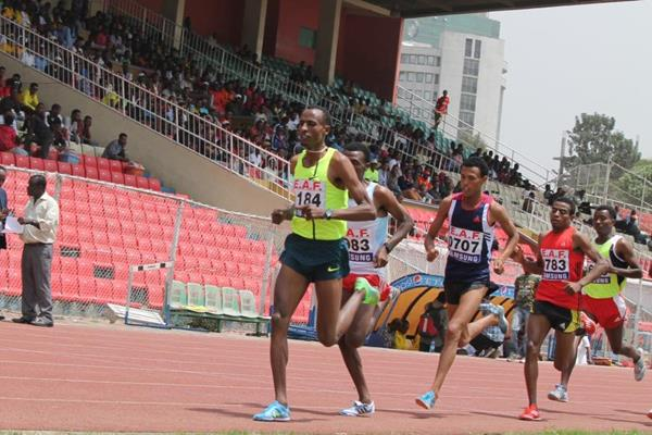 Aman Wote on his way to winning the Ethiopian 1500m title (Bizuayehu Wagaw)