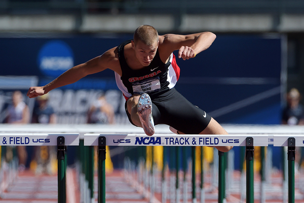 Maicel Uibo in the decathlon 110m hurdles at the NCAA Championships (Kirby Lee)