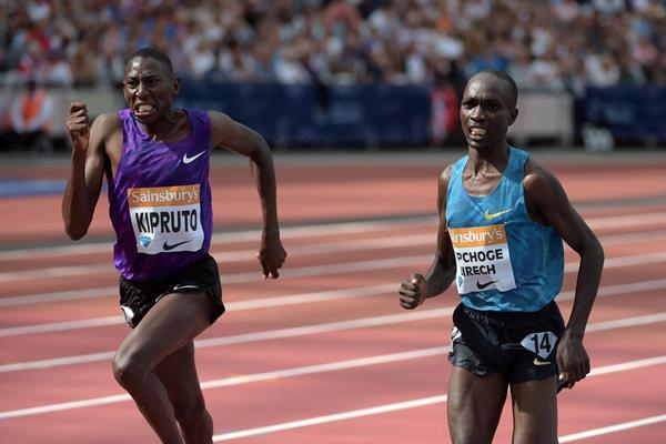 Conseslus Kipruto and Jairus Birech at the 2015 IAAF Diamond League meeting in London (Kirby Lee)