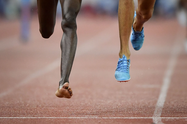 Conseslus Kipruto's bare foot at the IAAF Diamond League final in Zurich (AFP / Getty Images)