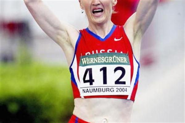 Yelena Nikolayeva of Russia wins the women's 20km in Naumburg (Getty Images)