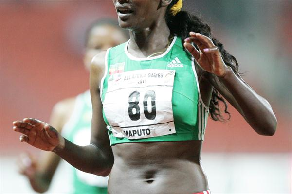 Sule Utura of Ethiopia celebrates after winnin the 5000m gold at the All Africa Games in Maputo  (Mohammed Amin/Daily Nation)