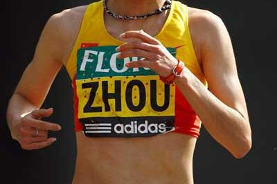 Zhou Chunxiu on her way to her London win (Getty Images)