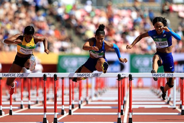 Tia Jones on her way to winning the 100m hurdles at the IAAF World U20 Championships Tampere 2018 (Getty Images)